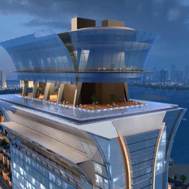 <span>Рекорды Дубая!<br>Самый высокий бассейн в мире!</span>